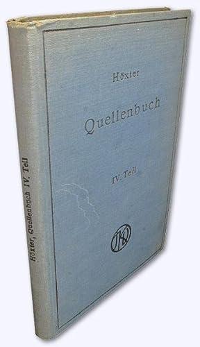 Quellenbuch zur jüdischen Geschichte und Literatur. IV.: Höxter, Dr. Julius: