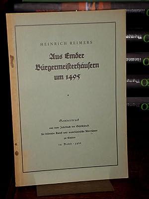 Aus Emdens Bürgermeisterhäusern um 1495. (= Sonderdruck: Reimers, Heinrich: