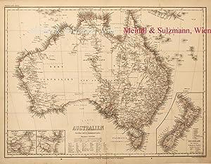 """Karte von Australien"""". Aus Meyer's Hand-Atlas der: Australien - Grenzkolorierte,"""