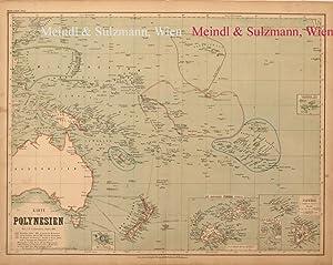 """Karte von Polynesien"""". Aus Meyer's Hand-Atlas der: Polynesien - Grenzkolorierte,"""