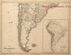 """Karte von Süd-America. Südl. Theil"""".- Aus Meyer's: Südamerika - Grenzkolorierte,"""