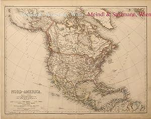 """Nord-America"""". Aus Meyer's Hand-Atlas der neuesten Erdbeschreibung.: Nordamerika - Grenzkolorierte,"""