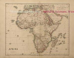 """Afrika"""". Aus Meyer's Hand-Atlas der neuesten Erdbeschreibung.: Afrika - Grenzkolorierte,"""