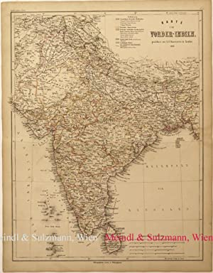 """Karte von Vorder-Indien"""". Aus Meyer's Hand-Atlas der: Indien - Grenzkolorierte,"""