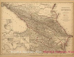 """Kaukasischer Isthmus"""". Aus Meyer's Hand-Atlas der neuesten: Kaukasus - Grenzkolorierte,"""