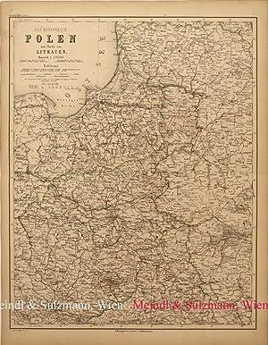 """Das Königreich Polen und Theile von Lithauen"""".: Polen - Grenzkolorierte,"""