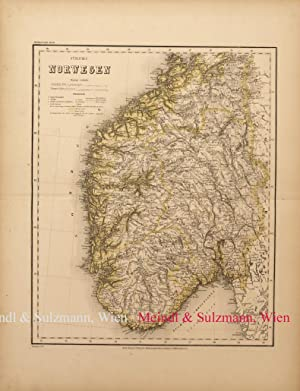"""Südliches Norwegen"""". Aus Meyer's Hand-Atlas der neuesten: Norwegen - Grenzkolorierte,"""