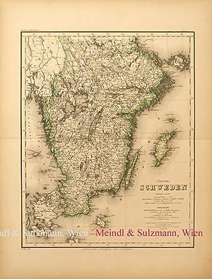 """Südliches Schweden"""". Aus Meyer's Hand-Atlas der neuesten: Schweden - Grenzkolorierte,"""