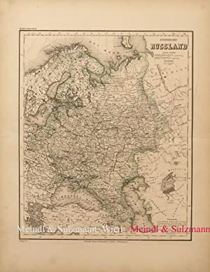"""Europaeisches Russland"""". Aus Meyer's Hand-Atlas der neuesten: Russland - Grenzkolorierte,"""