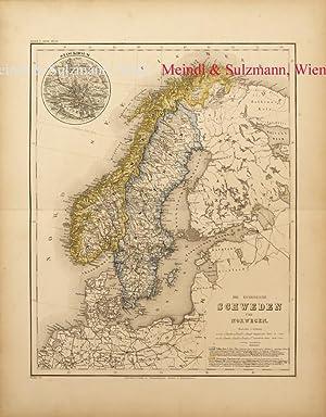 """Die Königreiche Schweden und Norwegen"""". Aus Meyer's: Skandinavien - Grenzkolorierte,"""