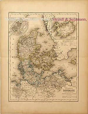 """Das Koenigreich Dänemark"""". Aus Meyer's Hand-Atlas der: Dänemark - Grenzkolorierte,"""