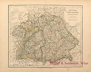 """Bayern, Württemberg, Baden und Hessen"""". Aus Meyer's: Bayern - Grenzkolorierte,"""