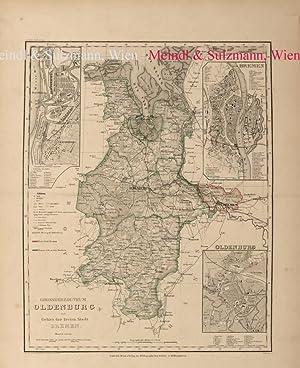 Grossherzogthum Oldenbourg und Gebiet der freien Stadt: Oldenburg - Grenzkolorierte,