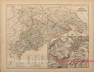 """Das Königreich Sachsen"""". Aus Meyer's Hand-Atlas der: Sachsen - Grenzkolorierte,"""