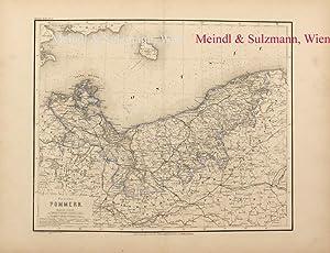 """Provinz Pommern"""". Aus Meyer's Hand-Atlas der neuesten: Pommern - Grenzkolorierte,"""