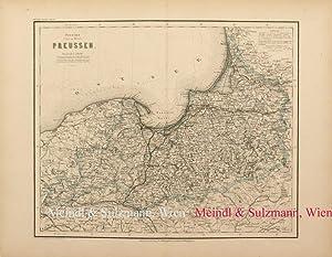 """Provinz (Ost- und West-) Preussen"""". Aus Meyer's: Preussen - Grenzkolorierte,"""