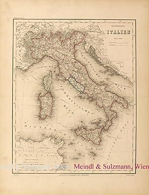 """Das Koenigreich Italien"""". Aus Meyer's Hand-Atlas der: Italien - Grenzkolorierte,"""