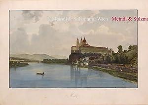 """Melk"""". Aus J. G. Kohl: Die Donau: Melk.- Kolorierter orig."""