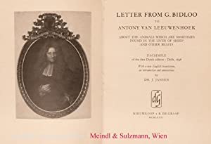 Letter from G. Bidloo to Antony van Leeuwenhoeka bout the animals which are sometimes found in th...