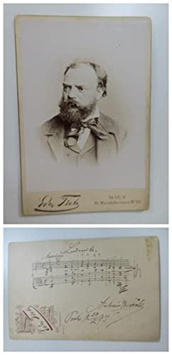 Czech composer (1841-1904). Portrait, signed and dated (Praha 29.12.1897) with autograph musical ...