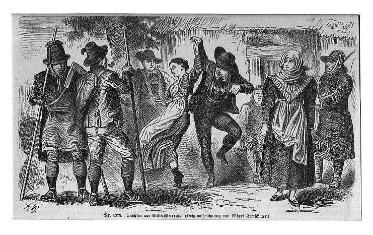 ÖSTERREICH: NIEDERÖSTERREICH: Tanzendes Paar und mehrere Zuschauer: Kretschmer