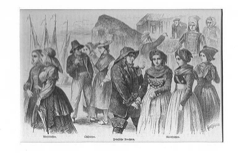 NIEDERLANDE: FRIESLAND: Trachtengruppe --*-- um 1870, Holzstich,: Kretschmer
