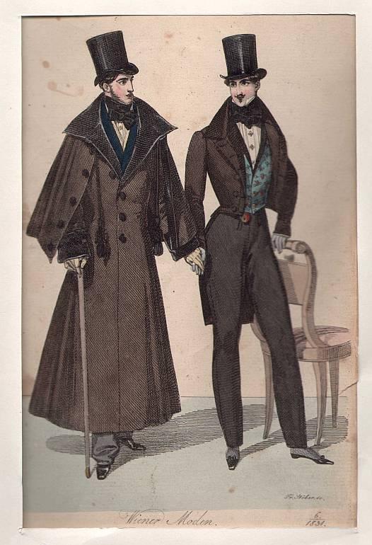 Wiener Moden, 2 Herren *** Kupferstich, um: Stöber