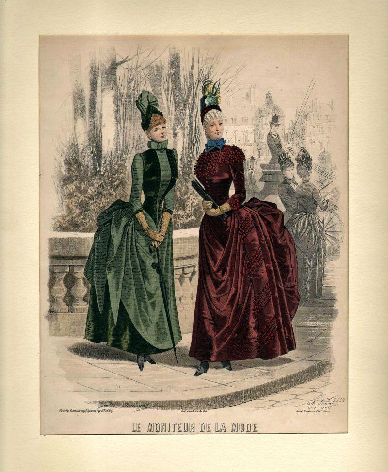 DAMEN-MODE: Zwei vornehme Damen beim Spaziergang -: David Jules/ Sodchaux/