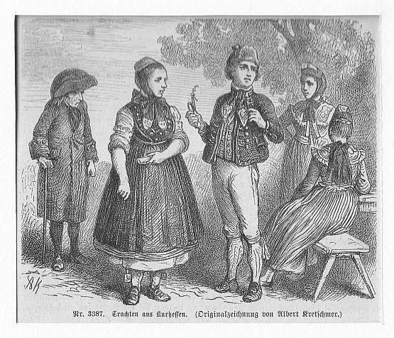 HESSEN: Trachten aus Kurhessen --*-- um 1860,: Kretschmer