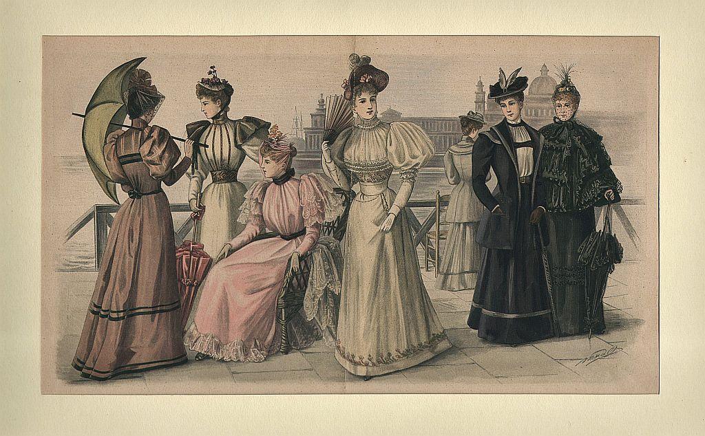 DAMEN-MODE: Sieben Damen auf der Uferpromenade-#.#-Die Modenwelt.