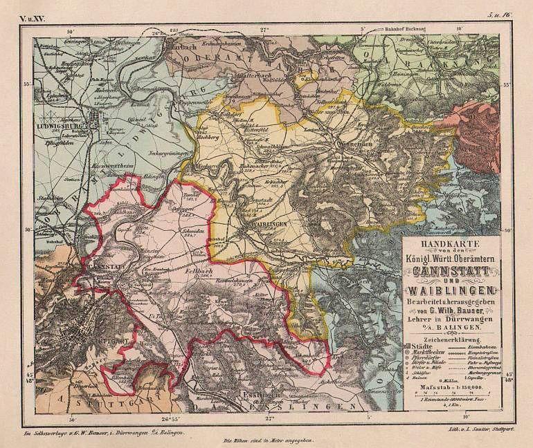 Bad Waiblingen waiblingen und bad cannstatt württemberg oberamtskarte