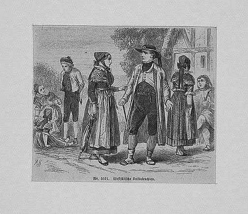 WESTFALEN: Bäuerliche Trachten --*-- um 1860, Holzstich,: Kretschmer