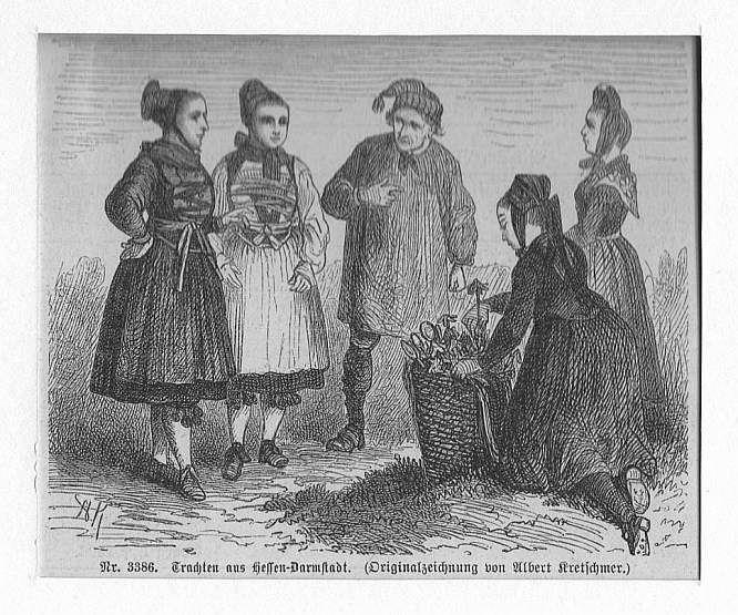 DARMSTADT: Trachten aus Hessen-Darmstadt --*-- um 1860,: Kretschmer
