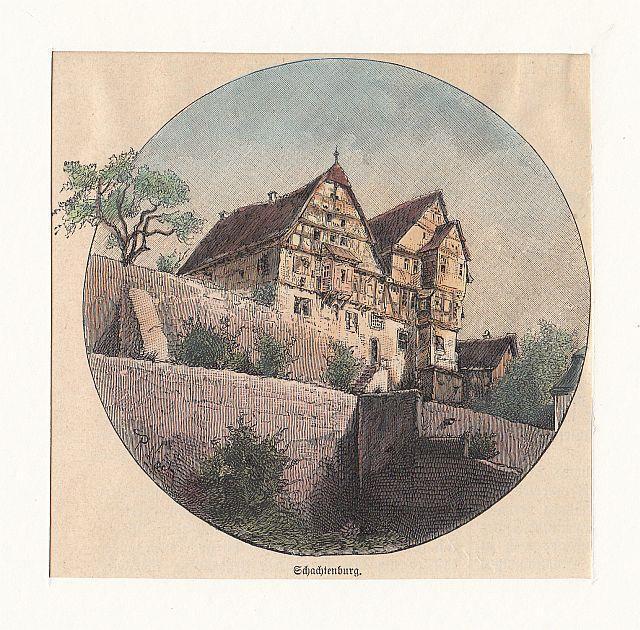 SCHLITZ/ Hessen: Schachtenburg - - - um 1895, Holzstich ...