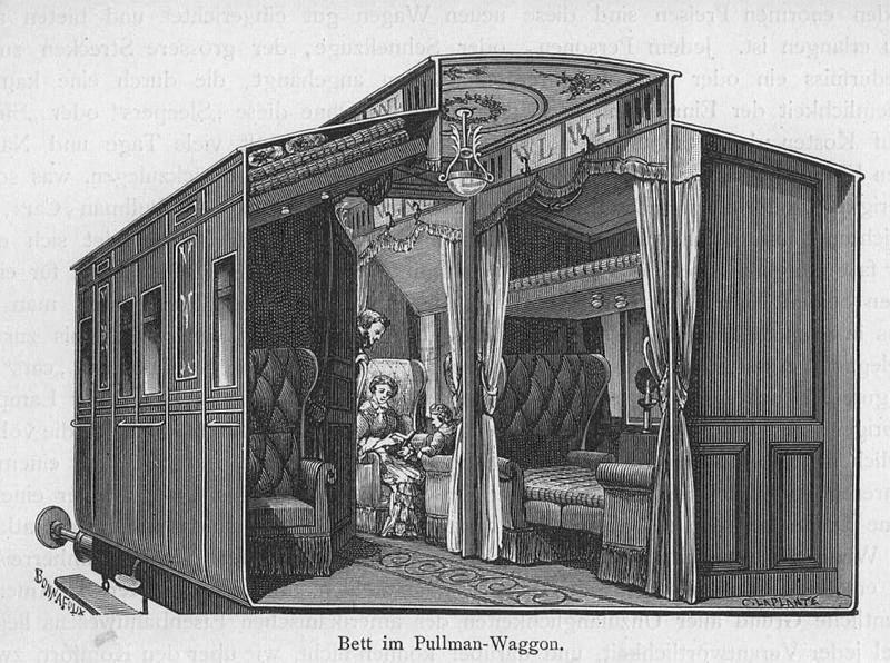 Eisenbahn Bett Im Pullmann Waggon Holzstich Um 1884 9x12 Cm