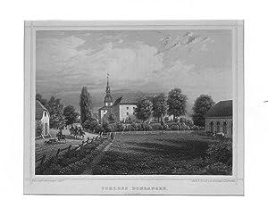 LETTLAND: DONDANGEN (Dundaga) / KURLAND: Schloß - - - um 1870, Stahlstich, 16x18 cm Bildformat: ...