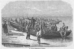 RUSSLAND: BRÜSTERORT (= MAJAK)/ OSTPREUSSEN: Bernsteintaucherflotte vor: Aarland