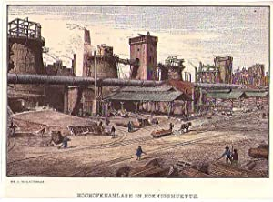POLEN: KÖNIGSHÜTTE/ SCHLESIEN: Hochofenanlage *** um 1889,: Blätterbauer