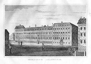 ÖSTERREICH: WIEN: Ingenieur Akademie -.- um 1837, Kupferstich, 10x14 cm Bildformat: Strahlheim