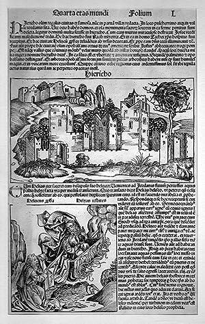 ISRAEL: JERICHO/ JORDANTAL: Stadtansicht und Elias im Feuerwagen auf ganzer Buchseite *-* um ...