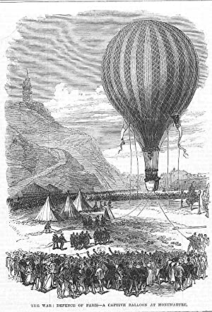Ballon: The War: Defence of Paris-a captive balloon at Montmartre *** Holzstich, um 1880, 19x13 cm