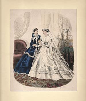 DAMEN-MODE: Braut und Brautjungfer ---- La Mode Illustree. Lithographie, um 1866, altkoloriert, 2...