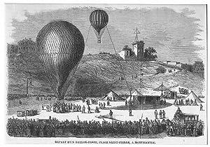 Ballon: Départ d'un ballon-poste, place Saint-Pierre, a