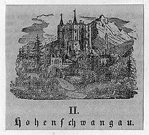 Originaler Stahlstich  um 1850 Neuschwanstein bei Füssen