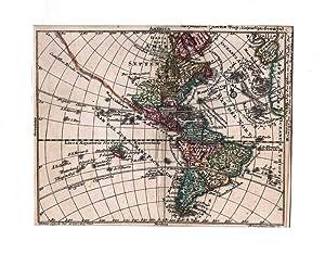 AMERIKA *-* America, Nord- und Südamerika, altkolorierter: Tobias Lobeck bei