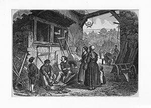 Fläschner ---- Holzstich, um 1880, 15x22 cm: Faller