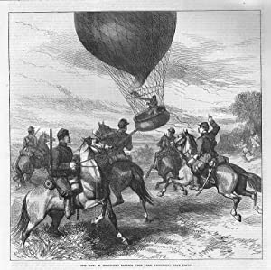 Ballon: The war: M. Issandier's Balloon from Paris descending near dreux *** Holzstich, um 1880, ...