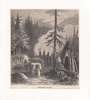 Köhler, Kohlenmeiler im Harz ---- Holzstich, um 1870, 18x16 cm