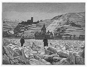 KAUB/ Rhein: Gesamtansicht bei großem Eisgang auf dem Rhein *-* um 1891, Holzstich, ...