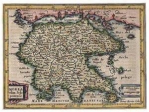 PELOPONNES *** Morea olim Peloponensis, kolorierter Kupferstich, G. Mercator bei Hondius 1634, ...